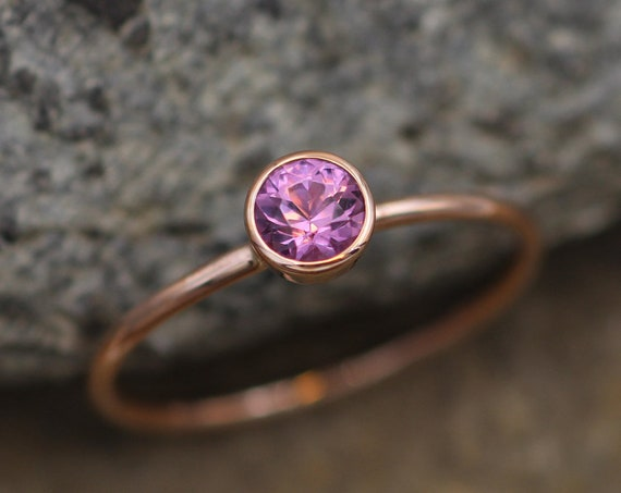 Rhodolite Garnet Round Gold Stacking Ring - 1.2 mm Band - Glossy Finish Pink Garnet Ring - Gold Stacking Ring -  Gold Ring