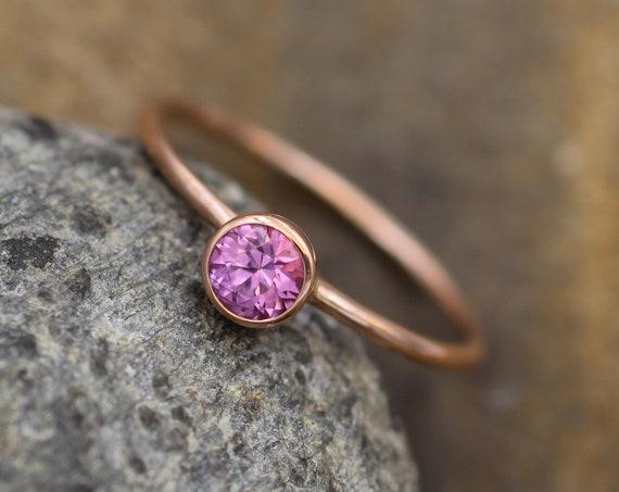 Rhodolite Garnet Round Rose Gold Stacking Ring - 1.2 mm Band - Glossy Finish Pink Garnet Ring - Gold Stacking Ring -  Gold Ring
