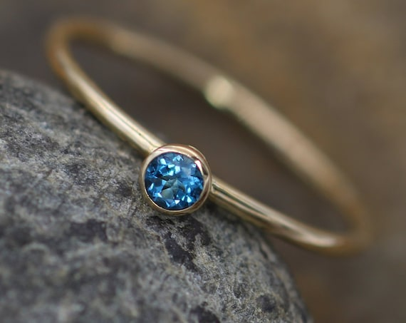 London Blue Topaz Bezel 3mm Glossy Stacking Ring - Round Stacking Ring - Solid 14 kt Yellow Gold - Gold Ring - Glossy Ring - Stackable Ring