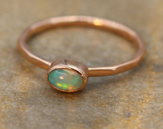 Opal Rose Gold Thick Oval Stacking Ring - Oval Opal - hand Made - Gold Opal Ring - Hammered Opal Ring - Rose Gold RIng