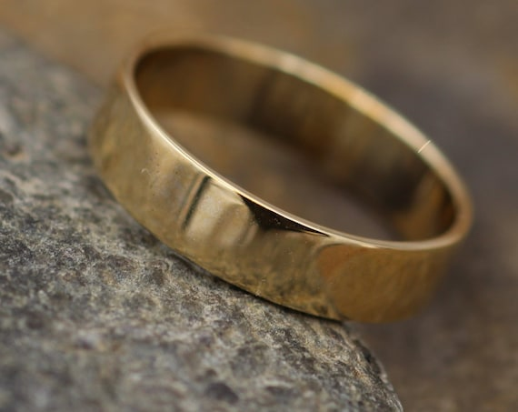 14kt Yellow 5x1mm Shiny Wide Gold Band - Glossy Band- Mens Wide Band - Flat Gold Ring - Yellow Gold Band - Low Profile Gold Band