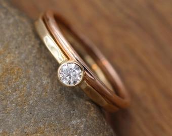 VS Diamond 3.5mm Yellow and Rose Gold Glossy Bezel Stacking Ring Set - Petite Diamond Ring -Diamond Ring - Diamond Ring Set - VS Diamond