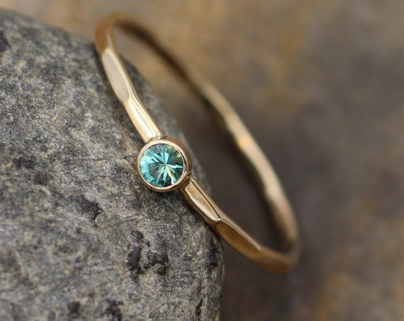 Emerald Gold Bezel 3mm Stacking Ring - Hand made in 14 kt Yellow - Natural Emerald Ring -  Round Stacking Ring - Petite Stackable - Emerald
