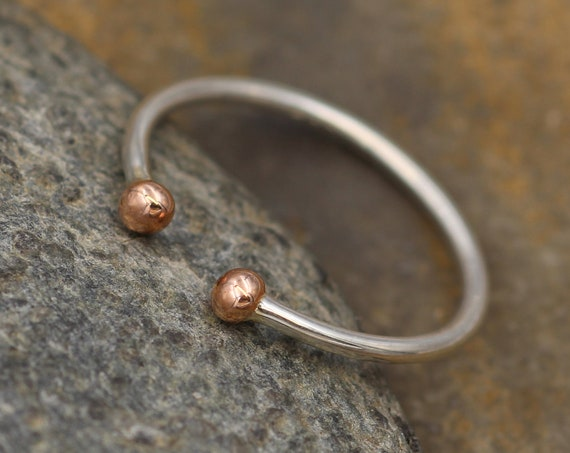 Rose Gold and Silver Dot Ring - Open Band Ring - Dot Ring - Rose Gold Bead Ring - Double Bead Ring - Open Bead Ring - Adjustable Ring