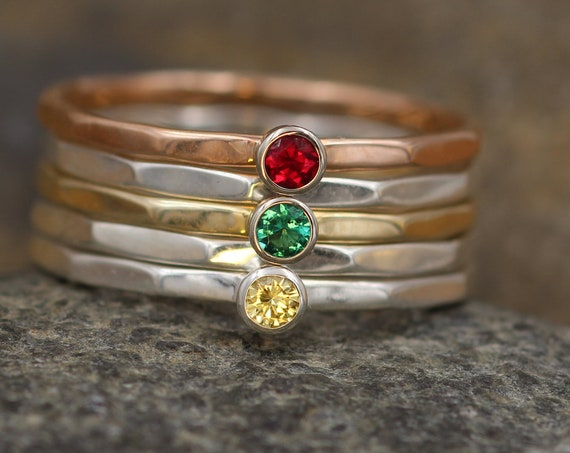 Sapphire, Ruby and Emerald Stacking Ring Set - Yellow Sapphire Ring - Emerald Ring - Ruby Ring -1.4 mm Stacking Bands - Sapphire Rings