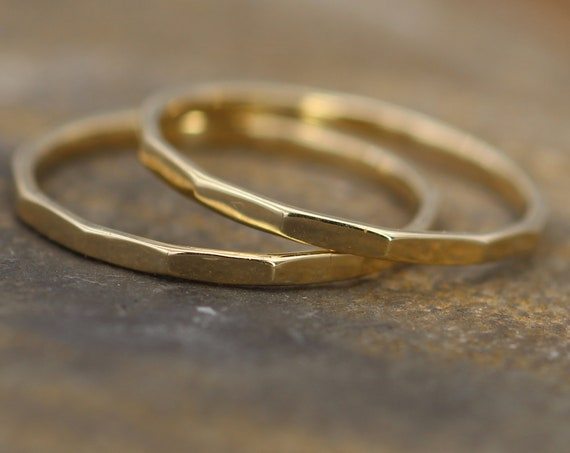 14 kt Gold Hammered 1.4mm Stacking Ring(s) - Midi Rings - Hand Made in solid 14 kt Yellow Gold