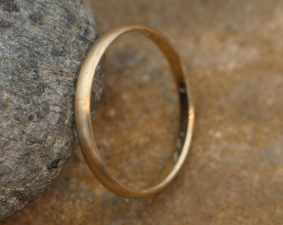 Yellow Gold 10kt 2x1mm Matte Finish Band - Simple Gold Band - Smooth Band - Engravable Band - Half Round Gold Band - 10 kt Yellow Gold