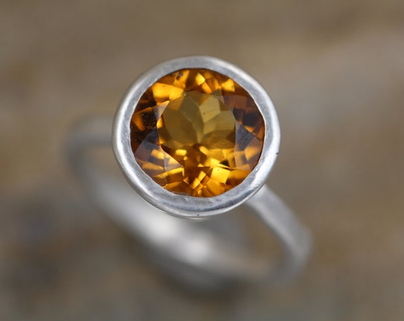 Citrine Bezel Ring - Matte Finish Solitaire Citrine Ring - Round Citrine Ring - Rock Fettish Ring - Alternative Engagement Ring