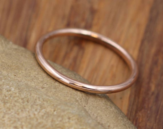 14 kt Rose Gold Band - 1.5 mm, Glossy Finish - Thick Rose Gold Ring - Skinny Stacking Ring - Rose Gold Ring - Pink Gold Band
