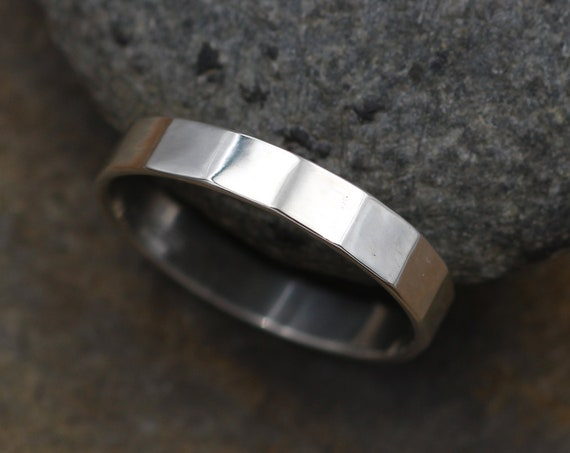 Sterling Faceted Glossy Wide Band - 4x1mm - Hand Made in Sterling Silver - Mens Wide Band - Wide Silver Ring - Silver Band