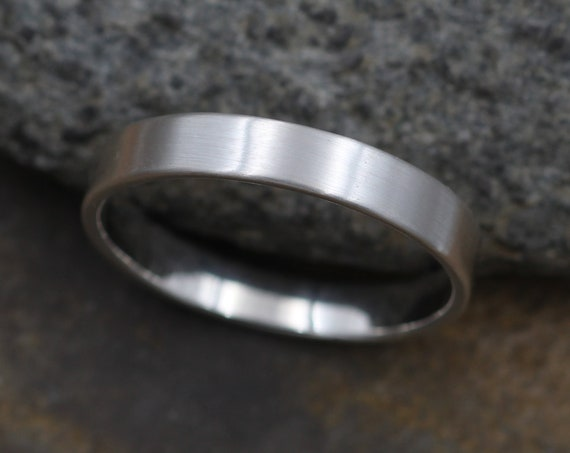 Sterling Silver Flat 4x1.25mm Wide Band -  Matte Finish - Mens Wide Band - Thin Silver Ring - Silver Band - Low Profile Silver Band