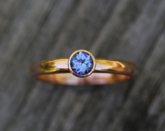 Tanzanite 4mm Rose Gold Bezel Ring - Glossy Finish, Half Round Band - Tanzanite Shiny Rose Gold Ring -  Round Tanzanite Ring