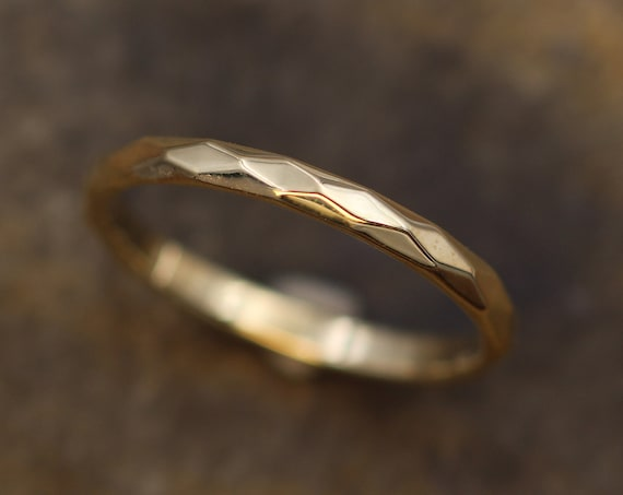 Yellow Gold 2mm width Hammered/Faceted Texture - Simple Yellow Gold Band - Personalized, Custom Engraving, Stackable, Hand Made