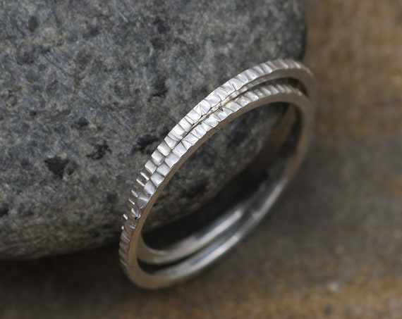 Bark Ring - Silver Bark Glossy Stacking Ring(s) - Simple 1.2 mm Round Bands - Midi Rings - Argentium 935 Stacking Rings - Hand made