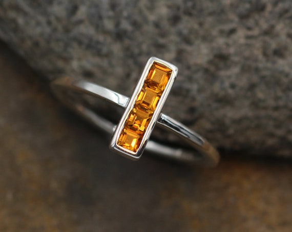 Citrine Square Channel Ring - Citrine Channel Ring - Citrine Stacking Ring - Citrine Silver Ring - Recycled Silver Citrine Ring - Channel
