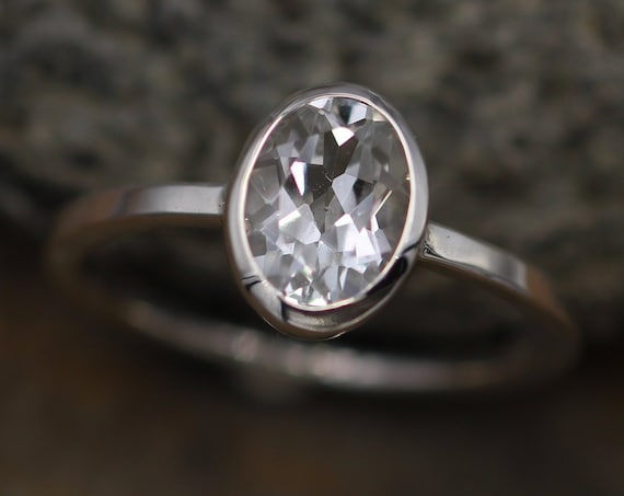 White Topaz Ring Hand Made in Argentium Sterling Silver, Alternative Engagement Ring, Bezel Ring