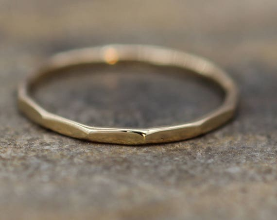 Ready to Ship size 5 Yellow Gold Band, Hammered Texture, Simple band - 1.2 mm width - Thicker Band - Yellow Gold Band