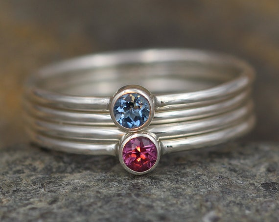 Aquamarine and Rhodolite Garnet Bezel Stacking Ring Set - 3mm round, 1.2mm bands - Stacking Ring - Glossy Finish - Petite Ring Set