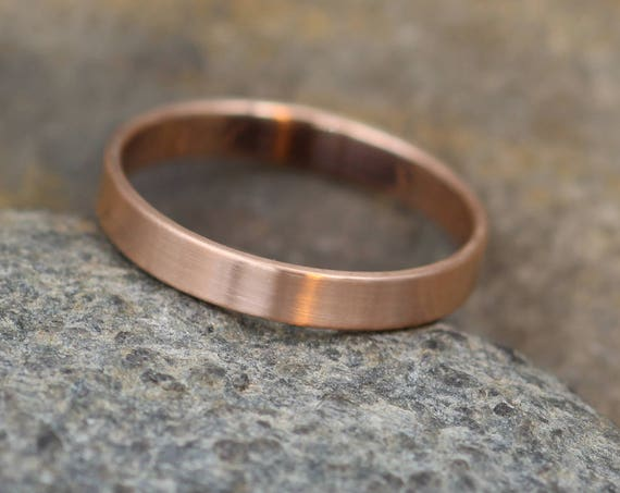 14kt Rose Gold Wide Band 3x1mm with Matte Finish - Hand Made in solid 14 kt Rose Gold - Wide Band - Thin Gold Ring - Gold Band