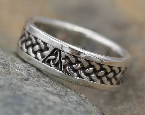 Celtic Mens Wide Ring - Mens Celtic Ring - Braid & Knot Band - Choice of - Sterling Silver - Karat Gold - 10 kt -14 kt - Oxidized