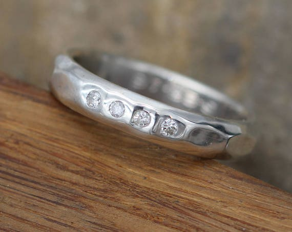 Diamond Engravable Inset Band in Sterling Silver or Karat Gold - Alternative Engagement Ring -  with Faceted Band Texture