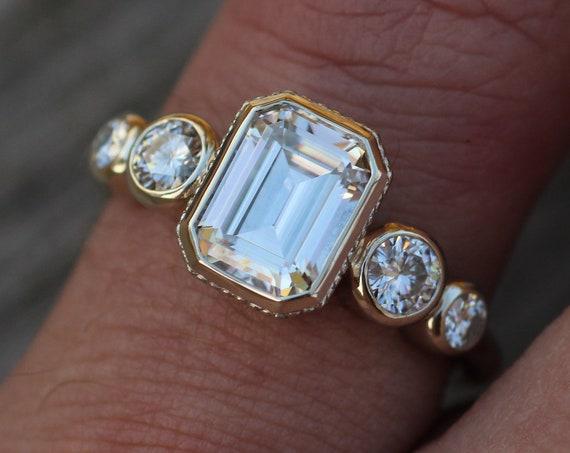Moissanite 6x8mm Octagon Milgrain White Gold Multi Bezel Ring -  Alternative Engagement Ring 1.6 carat -  Bezel Ring - Forever One
