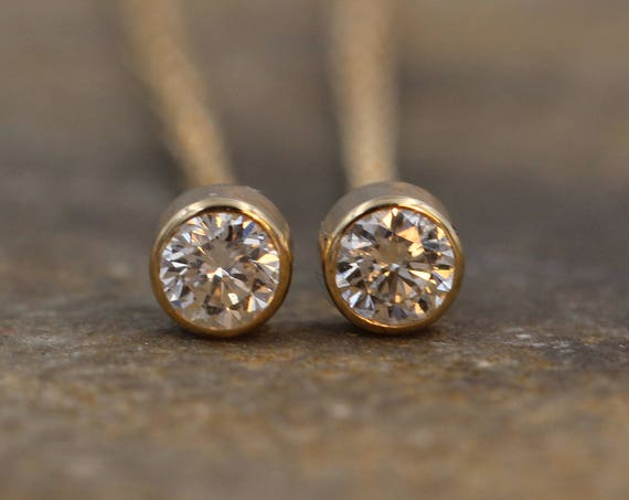 Diamond Stud Earrings - Diamond Gold Studs - Diamond Bezel Studs - Threader Earrings - VS Diamonds - Diamond Gold Stud Earrings