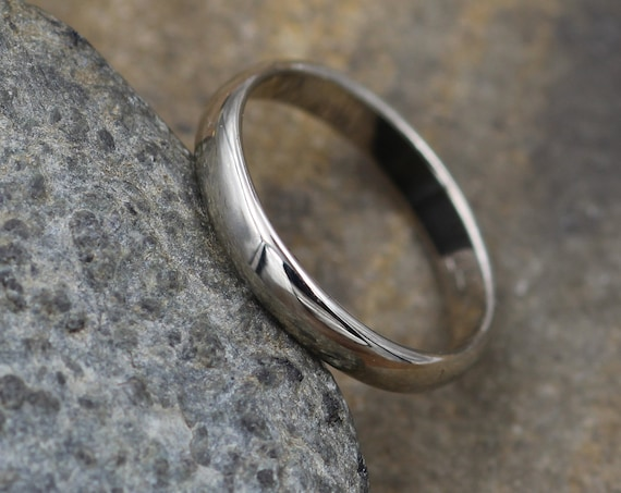 Half Round White Gold Ring 3.5x1.4mm, Glossy Finish - Simple Wedding Band - Smooth Texture Flat Band hand made in 14 kt white gold