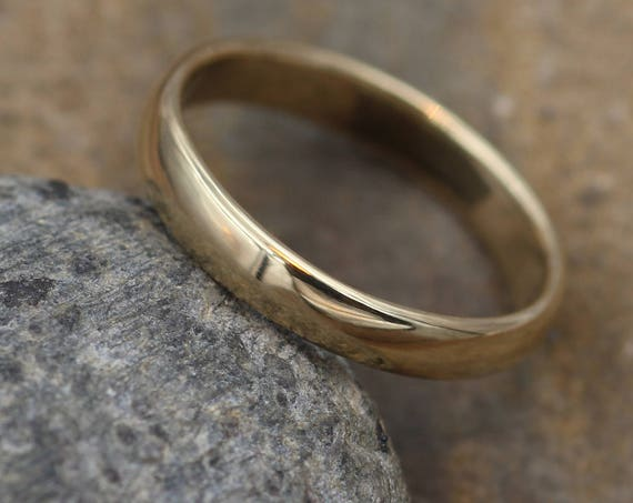 Wide Yellow Gold Band 3.5x 1.4mm, Shiny Finish , Comfort Fit - Smooth Band - Engravable Band - Half Round Gold Band - Hand Made