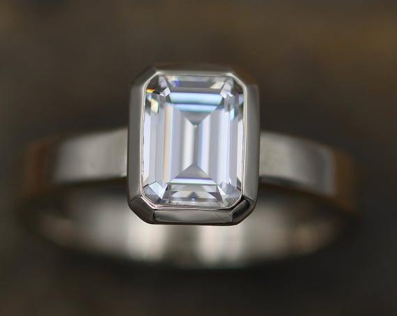 Moissanite Octagon 6x8mm Glossy Bezel Ring -  Alternative Engagement Ring - 1.6ct Moissanite - Moissanite Bezel - Glossy Finish- Forever One