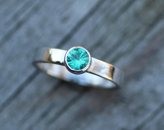 Emerald Platinum Bezel Ring - Select Grade Emerald Ring - Platinum Emerald Solitaire Ring - Emerald Bezel Set