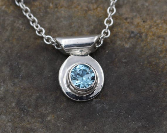 Blue Zircon Bezel Necklace - Blue Zircon Slider Necklace - Silver Blue Zircon - Blue Zircon Gift - Blue Zircon Bezel  - Blue Zircon Jewelry