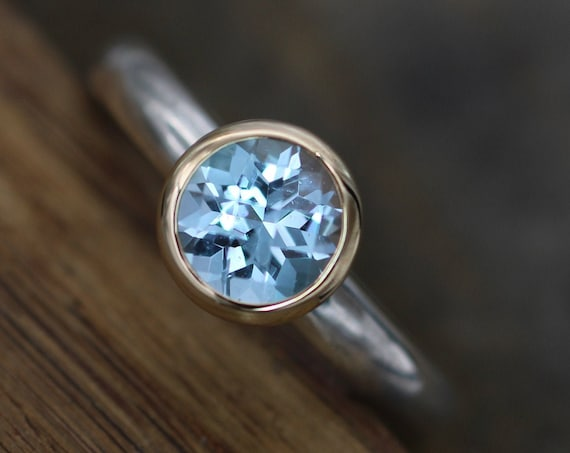 Blue Topaz Peekaboo Bezel Ring with Yellow Gold and Sterling Silver - Checkerboard Cut Sky Blue Topaz Ring - Blue Topaz Yellow Gold