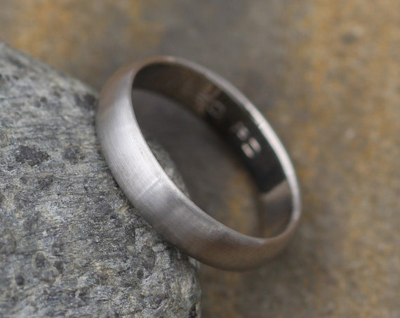 Wide Palladium Band 4x 1.4mm, Matte Finish , Comfort Fit - Smooth Band - Engravable Band - Half Round Band - Hand Made