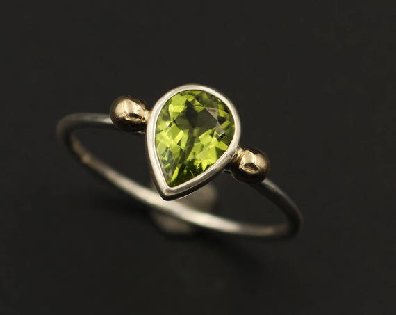 Peridot Tear Drop Bezel White Gold Ring - Gold Bead Peridot Ring - Dainty Glossy Finish Solitaire Ring - Pear - Alternative Engagement Ring