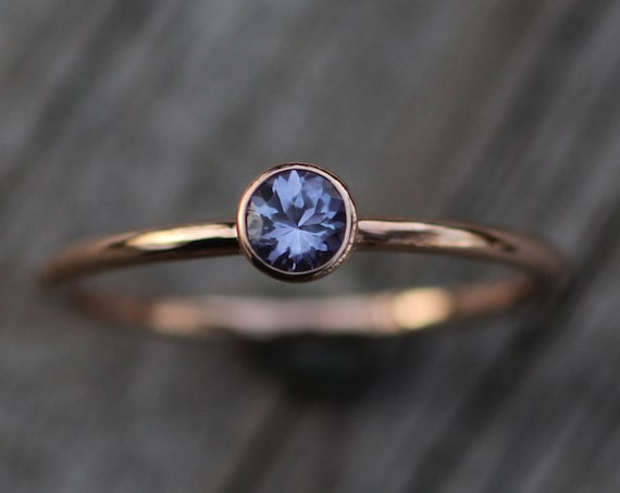 Tanzanite 4mm Rose Gold Stacking Bezel Ring - Tanzanite Bezel Stacking Ring - Tanzanite Bezel Ring -Rose  Gold Tanzanite Ring