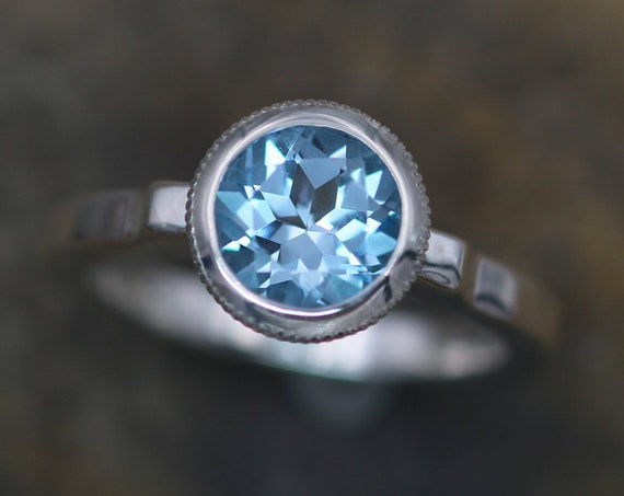 Blue Topaz 7mm Milgrain Detail Bezel Ring - Blue Topaz Solitaire Ring - Blue Topaz Alternative Engagement Ring - Sky Blue Topaz Ring