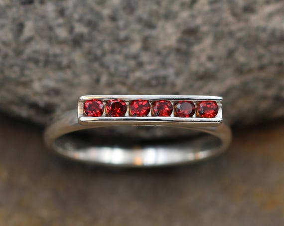 Garnet Ring - Garnet Channel Ring - Garnet Silver Ring - Silver Garnet Ring - Channel Bar Ring  - Garnet Stacking Ring