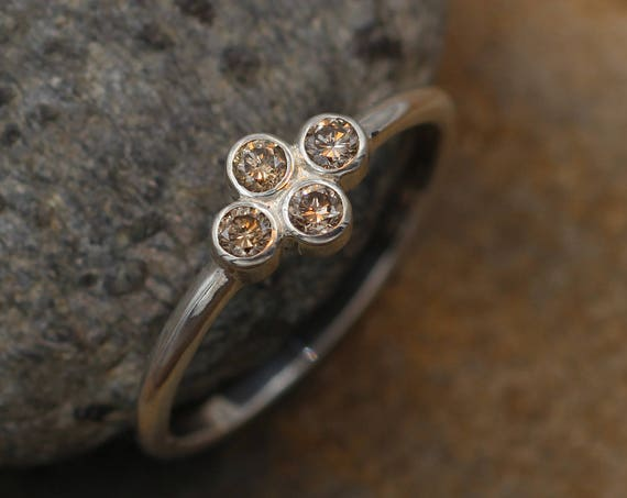 Alternative Engagement Ring, Brown Diamond Ring in Recyceld Sterling Silver or Karat Gold