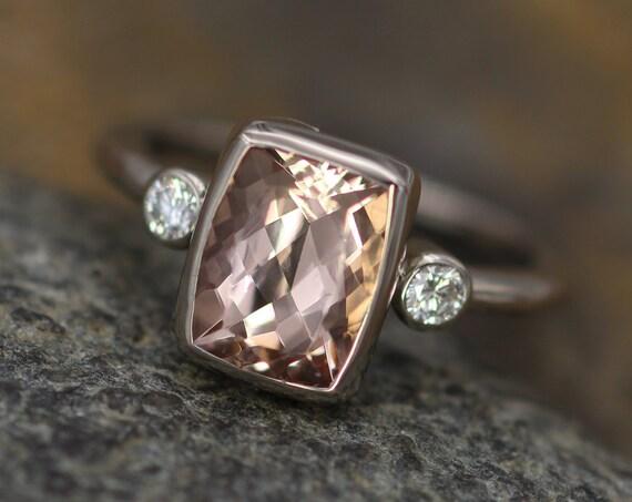 Morganite Diamond Palladium White gold Cushion Cut Multi Bezel Ring - 7x9mm 2 carat Morganite - Glossy Morganite Ring - Morganite Bezel