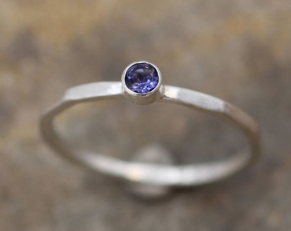 Iolite Stacking Ring - 2.5mmMatte Finish -  Skinny Iolite Ring - Hand Made in Argentium Sterling - Stackable - Hammered Texture