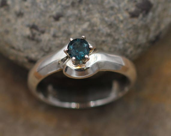 Indicolite Tourmaline Solitaire Ring - Blue Tourmaline Solitaire Ring- Tourmaline Ring