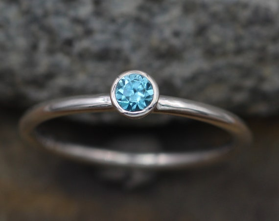 Blue Zircon 3.5mm Round Glossy Stacking Ring with 1.5mm band - Blue Zircon Ring - In Recycled Sterling silver -  Stackable