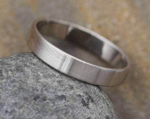 14kt White Gold Wide Band - 4x1mm Matte Finish - Mens Wide Band - Thin Gold Ring - White Gold Band - Low Profile Gold Band