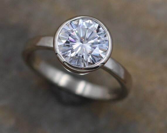 Moissanite White Gold Alternative Engagement Ring, 8mm 1.6 ct  Glossy Finish Bezel Ring - Forever One- Traditional - Bezel Ring
