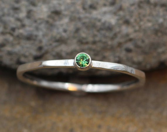 d4739af52 ... Tsavorite Garnet Stacking Ring - 2.5 mm, 1.4mm band - Argentium Sterling  silver -