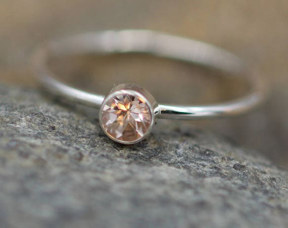 Morganite 4mm Round Glossy Silver Stacking Ring - 1.4 mm Band - Pink Morganite Ring - Silver or Gold Stacking Ring -  Morganite Solitaire