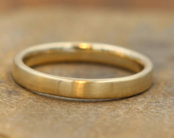 Yellow Gold Recantgular Band, 3.2x1.8mm Comfort Fit Matte Finish - Simple Gold Band - Smooth Band - Engravable Band - Wide Gold Band