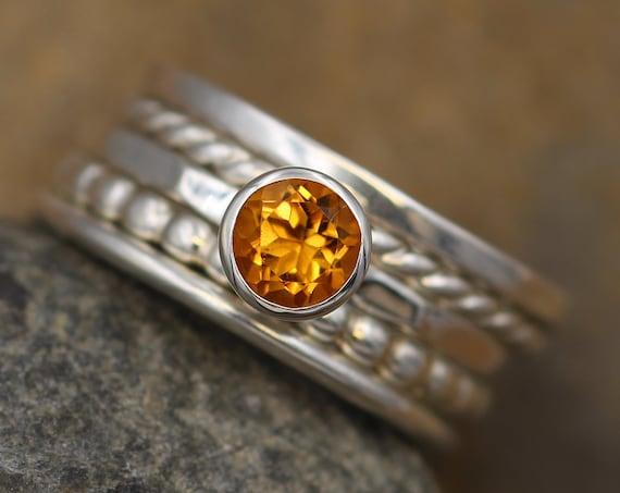 Citrine Bezel Stacking Ring Set - 1.5mm bands - Silver Stacking Ring Set - Bezel Ring - Citrine Bezel Ring Set - Citrine Stacking Ring
