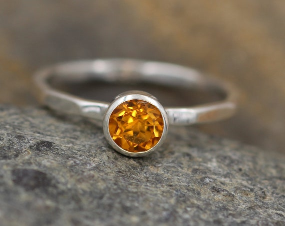 Citrine Stacking Ring - Citrine Bezel Stacking Ring - Citrine Round Ring - Citrine Ring - Citrine Silver Ring - Citrine Thick Ring